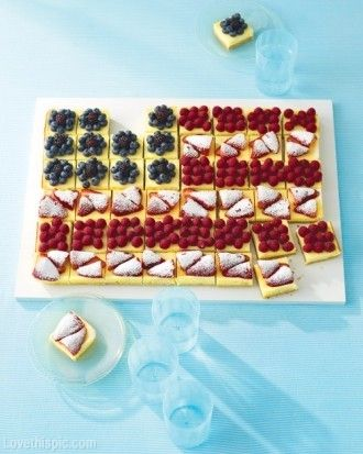 Fruited-Cheesecake Flag change to gramcracker squares, cream cheese frosting and berries
