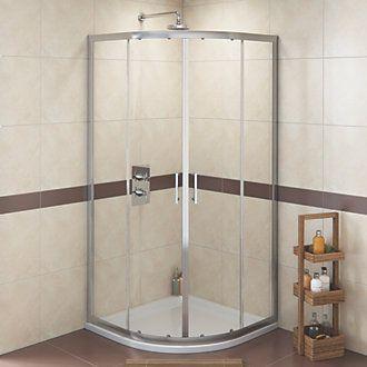 Swirl Quadrant Shower Enclosure Silver 900 X 1800mm