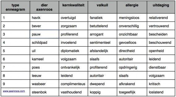 Kernkwadranten van Daniel Ofman geven inzicht in kernkwaliteiten, valkuilen, uitdagingen en allergieën. Kernkwadranten van de axenroos. - ARENDLANDMAN.NL
