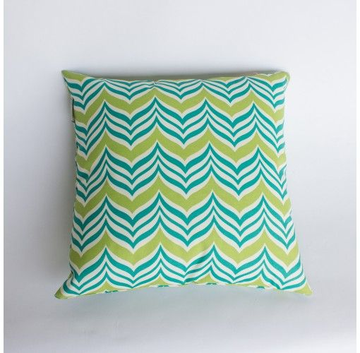 Wing Patterned Cushion in Green - Handmade in Noosa, these Plump Cushions come in a variety of colours and patterns to compliment any decor.