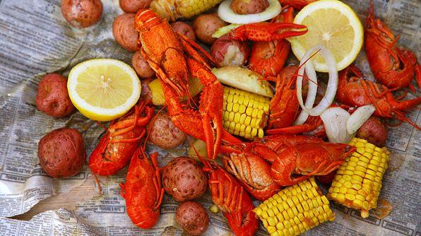 New Orleans crawfish boil
