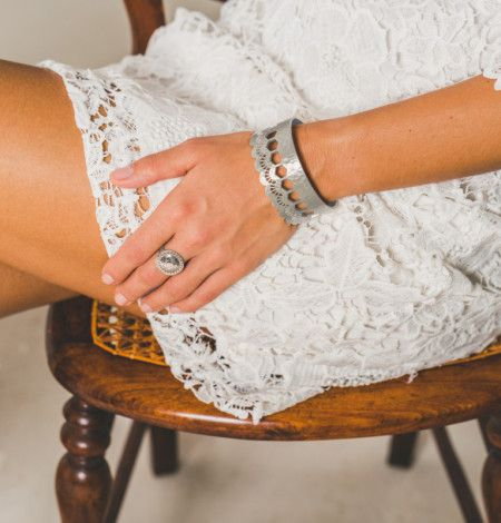 Lace Edge Open Cuff in 925 in Sterling.  Shop the collection at www.murkani.com.au