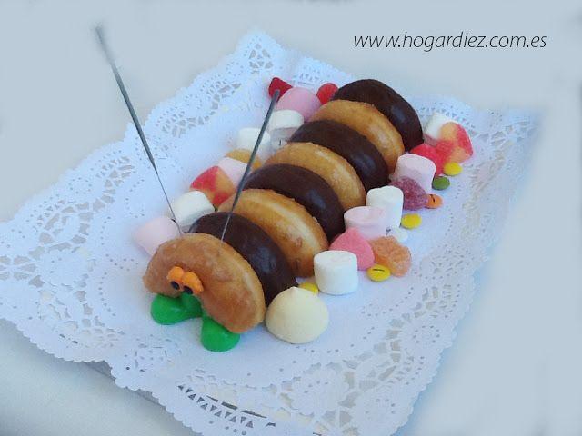 Ideas originales para una celebración infantil. Tarta gusano de donuts #party #fiesta #diy
