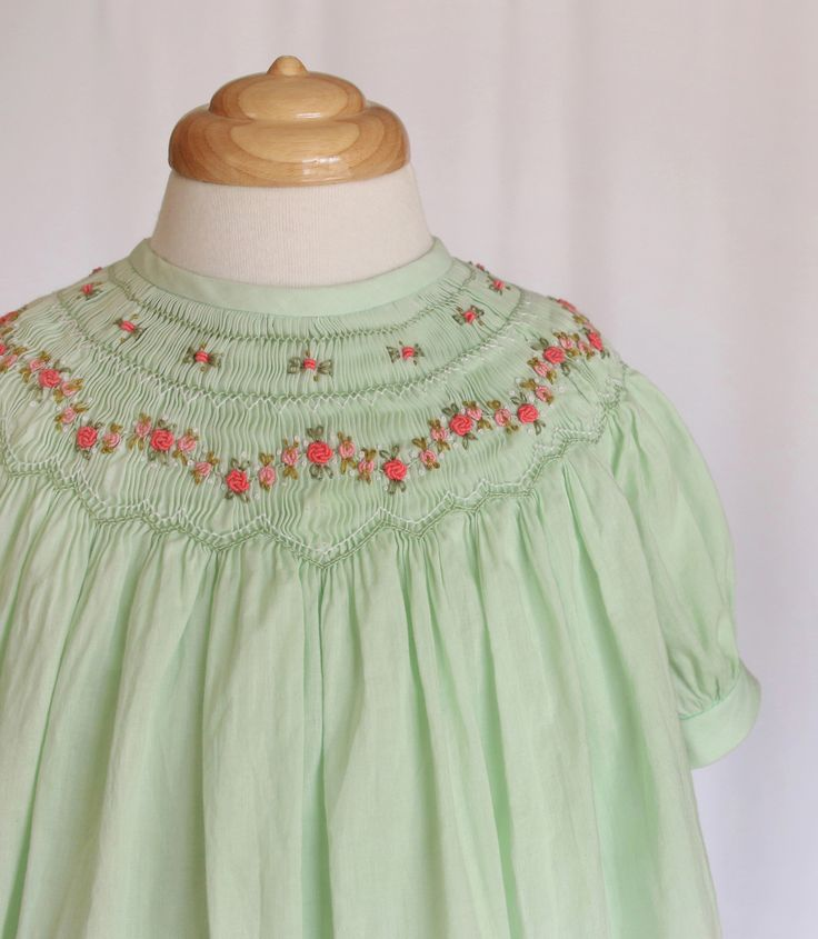 COUNTRY APPLE Hand made Bishop dress, hand embroidery in a light and soft voile #vintage #smocking #timelssdesign #handembroidery #mintcolour #voile    fabric.  Size: 2   http://www.timelesscouture.com.au/ a.b.timelesscouture@gmail.com  www.facebook.com/a.b.timelesscouture