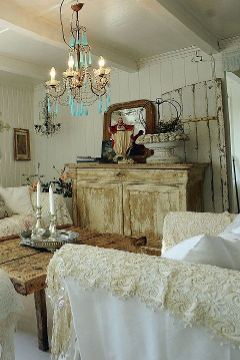 Love that chandelier! French Shabby Chic Decor | Cottage, Shabby Chic and White Decor / The French Country style