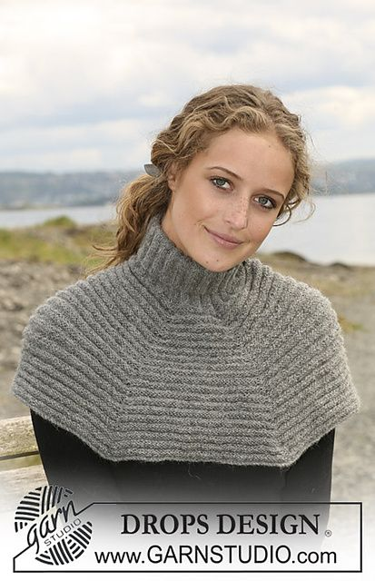 Ravelry: 108-23 Knitted neck warmer with wide garter st pattern by DROPS design, free knitting pattern