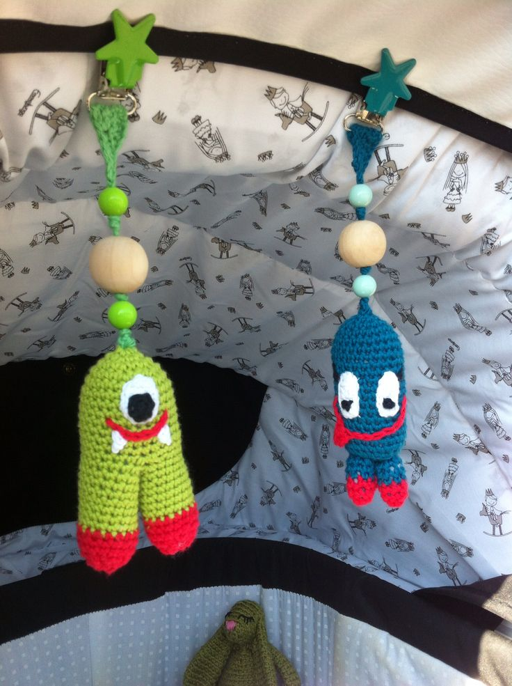 Crocheted monsters for the pram - no pattern, but quite simple to remake if you have done a bit of amigurumi before