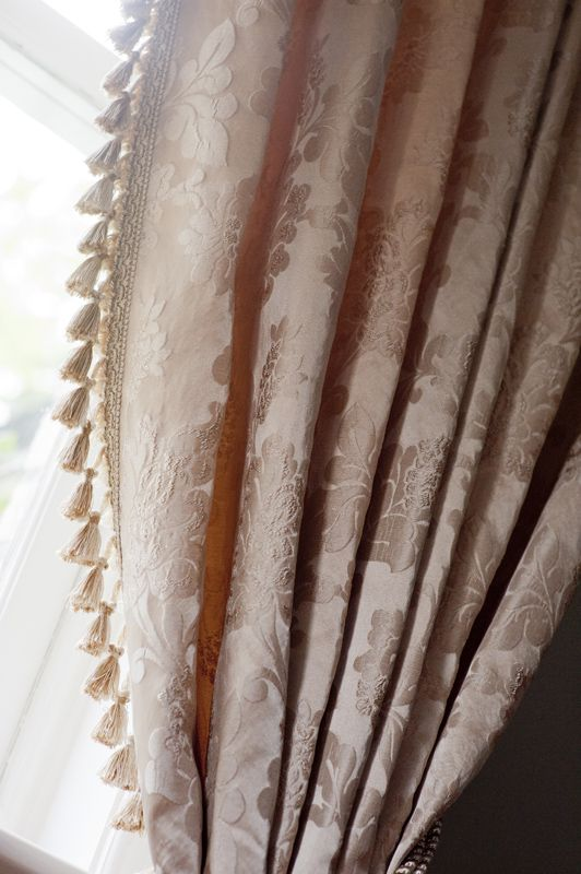 Luxurious ready made, French pleat curtains, with superior fleece lining. Includes hand-tied fringe and co-ordinating tassel tiebacks.