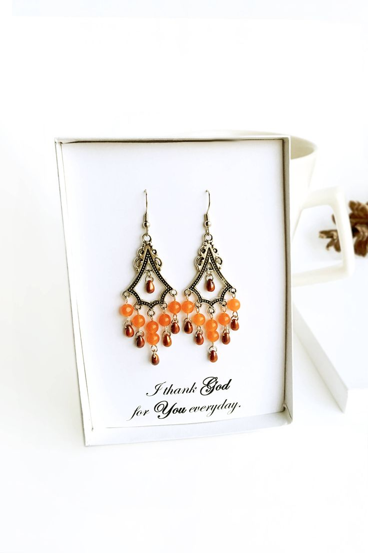Orange Brown Chandelier Earrings Teardrop Clip Ons Posts Lever Backs Gift Teacher Birthday Anniversary Women Mom Ladies Girl Friend Woman