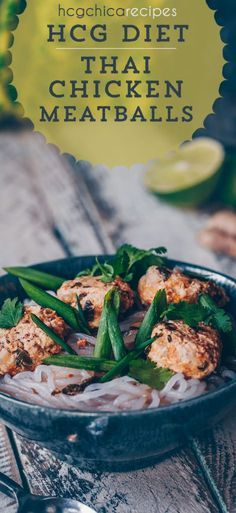 Phase 2 hCG Diet Instant Pot Recipe - 203 calories: Thai Chicken Meatballs with Miracle Noodles - hcgchicarecipes.com - Protein Dish #hcg #hcgdiet #hcgrecipes #hcgdietrecipes #p2hcgrecipes #phase2hcgrecipes #p2hcgdiet #phase2hcgdiet