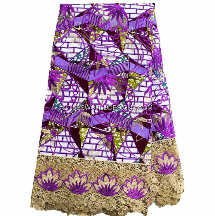 WP801G -Guipure lace African wax material, 5 yards