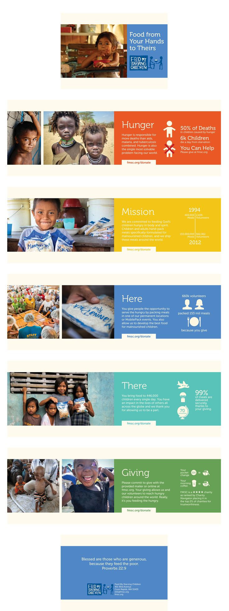 Charity brochure for Feed My Starving Children. Project for Graphic Design 2.