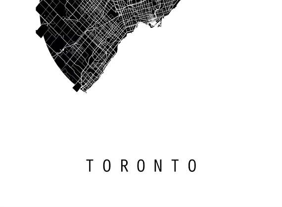 Toronto Map, Canada Map, World Map, Maps, Black And White ...