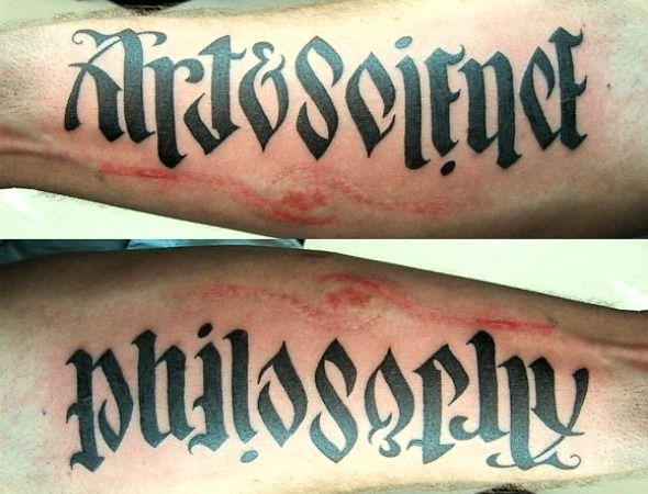 art and science/philosophy ambigram tattoo: Ambigramtattoo, Friends Tattoo, Awesome Tattoo, Art Science, Clever Tattoo, Body Art, Ambigram Tattoo, Science Philosophy, Cool Tattoo