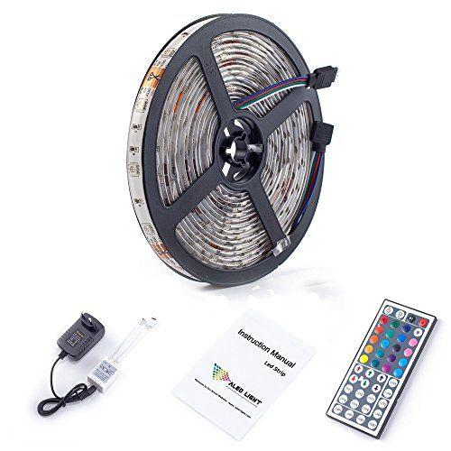 ALED LIGHT® Wasserdicht IP65 LED Streifen RGB 5M 5050 150 LED SMD (30 LED/Meter) RGB + 44 Key Fernbedienung+Netzteil 12V 3A + Empfänger + Produktbeschreibung [Energieklasse A+]