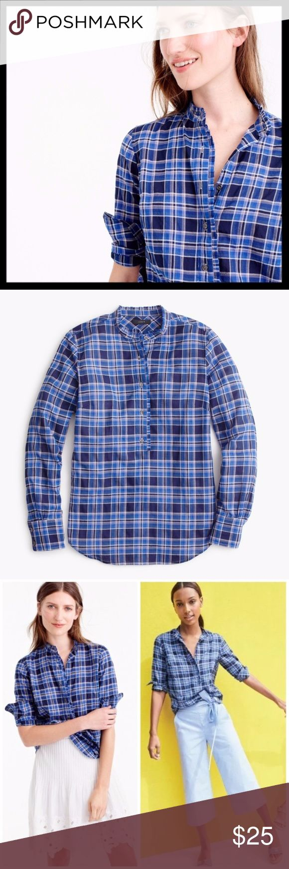 j. crew // ocean plaid blue ruffled popover shirt This plaid button up pullover is back from jcrews archives. Crafted in cotton that's a lil bit gauzy and intentionally rumpled, meaning it's cool and easy to wear. Lightweight and easy to layer. Ruffled trim. Gently worn, in great preowned condition. J. Crew Tops Button Down Shirts