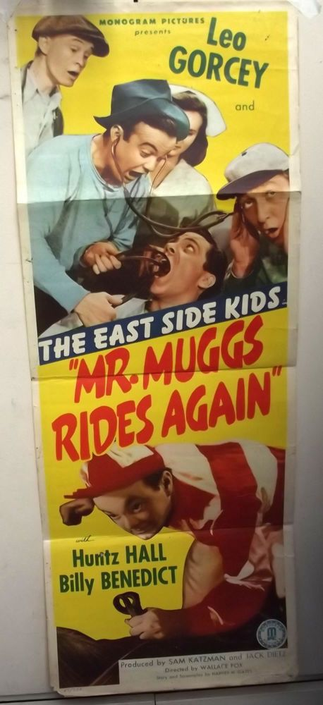 LEO GORCEY,HUNTZ HALL (MR.MUGGS RIDES AGAIN)1945 MOVIE POSTER (EAST SIDE KIDS)