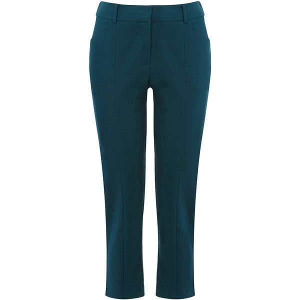 OASIS Crop Cotton Trousers (21 CAD) ❤ liked on Polyvore featuring pants, capris, green, slim pants, cotton trousers, cigarette trousers, slim cropped pants and slim trousers