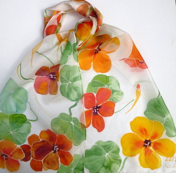 Nasturtiums Hand Painted Silk Scarf By Colourscope On Etsy
