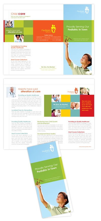 Pediatrician & Child Care Tri Fold Brochure Template Design | dLayouts®
