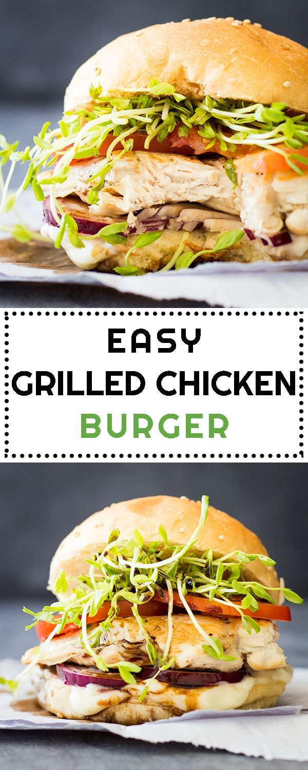 Recipe for a simple and Easy Grilled Chicken Burger made with chicken breast, tomato, microgreens, red onions and delicious 2-minute homemade mayonnaise! via @greenhealthycoo