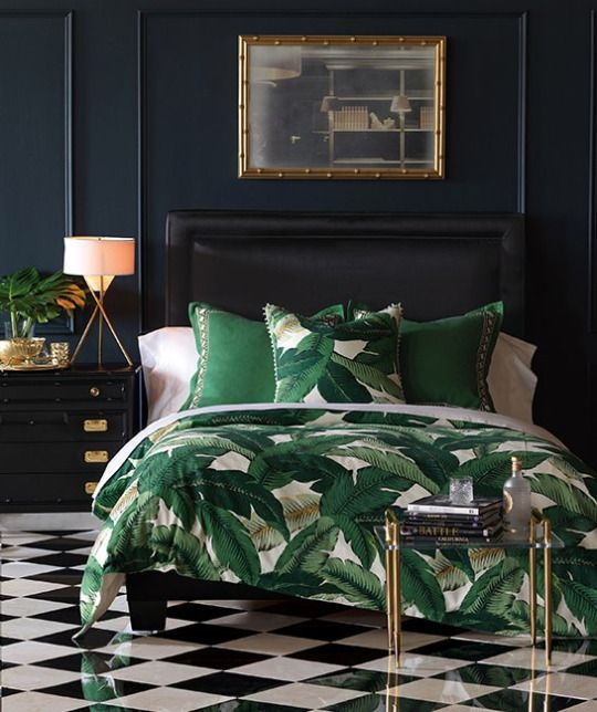 Master bedroom decor, tropical inspirations, black walls, palm trees pattern, Interior Design Inspiration,