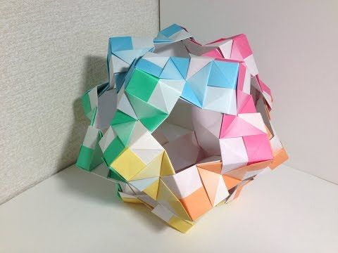 パラパラ折り紙・ローズユニット(12面体30枚組) - YouTube