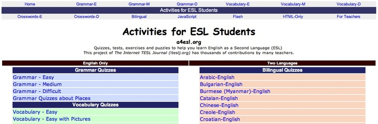 http://a4esl.org/   is a nice website for Grade 3+ ESL students.