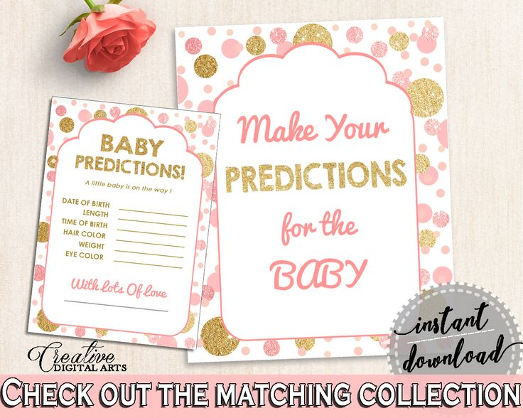 Baby Predictions, Baby Shower Baby Predictions, Dots Baby Shower Baby Predictions, Baby Shower Dots Baby Predictions Pink Gold party RUK83 #babyshowergames #babyshower