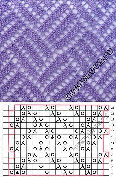 Узор 729 «ажурная решетка» | каталог вязаных спицами узоров