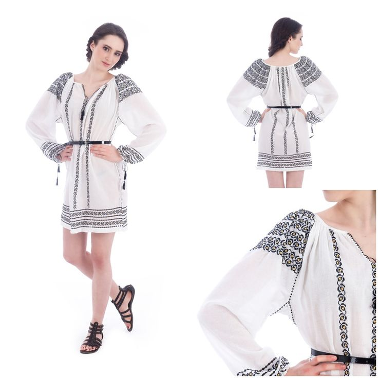 Stunning embroidered dress with traditional motifs. #romanianlabel