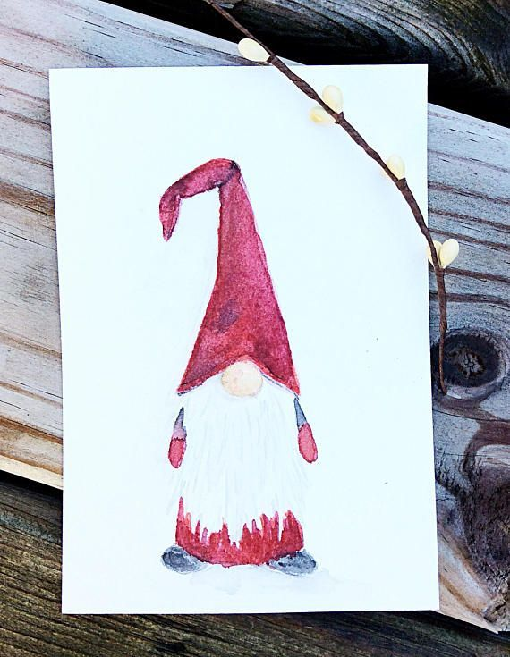 Gnome Grusskarten Set Schwedische Tomte Nisse Watercolor Christmas Cards Christmas Drawing Christmas Paintings