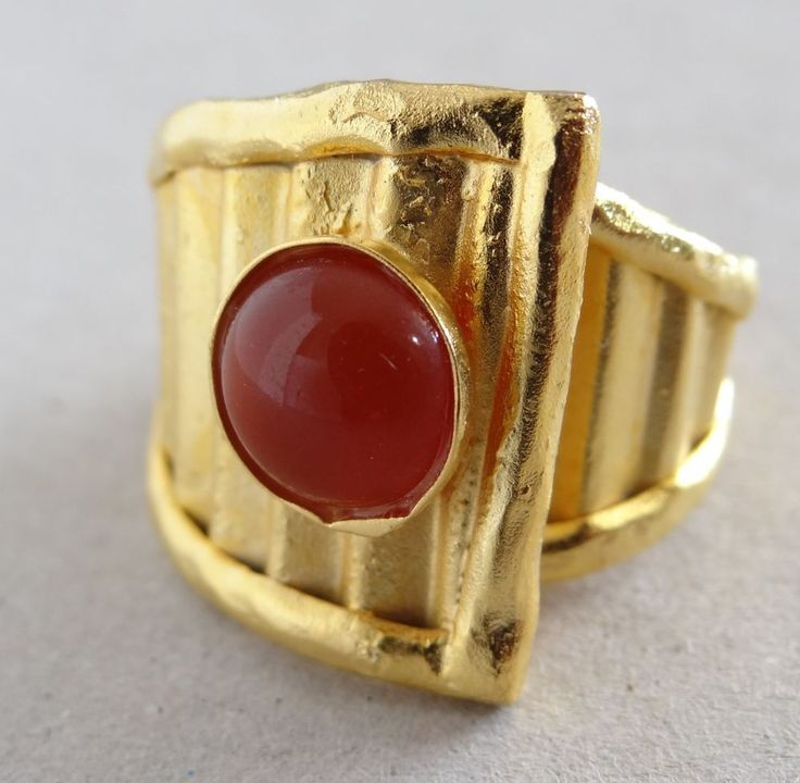 Designer 24K Gold Plated Sterling Silver Flex Ring Red Agate Magical Love Energy