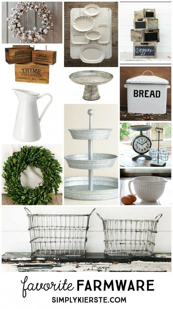 Favorite Farmware And Where To Find It.... Great Farmhouse Decor Ideas....