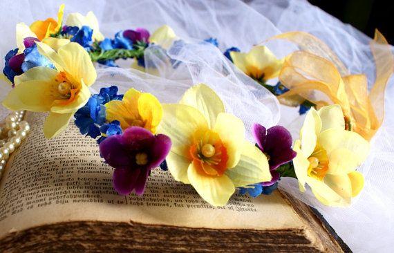 Flower Crown Spring Blossoms Crown Headband Wedding Head Wreath Yellow Narcissus  Garden Wedding