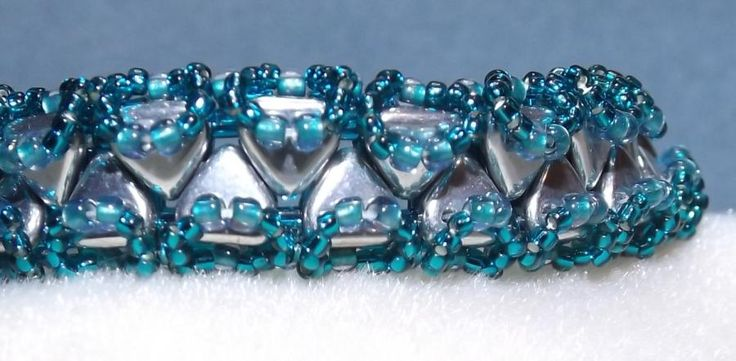 Teal and Silver Hand Beaded Bracelet - Jewelry creation by Sharon