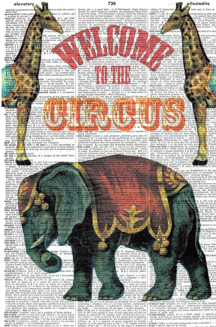 /Vintage-Dictionary-Art-Circus-Poster-Giraffe-Elephant-Welcome
