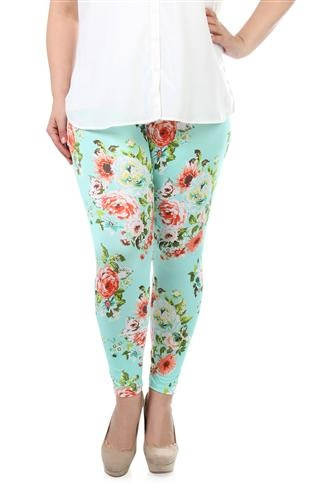 plus size vintage rose print leggings