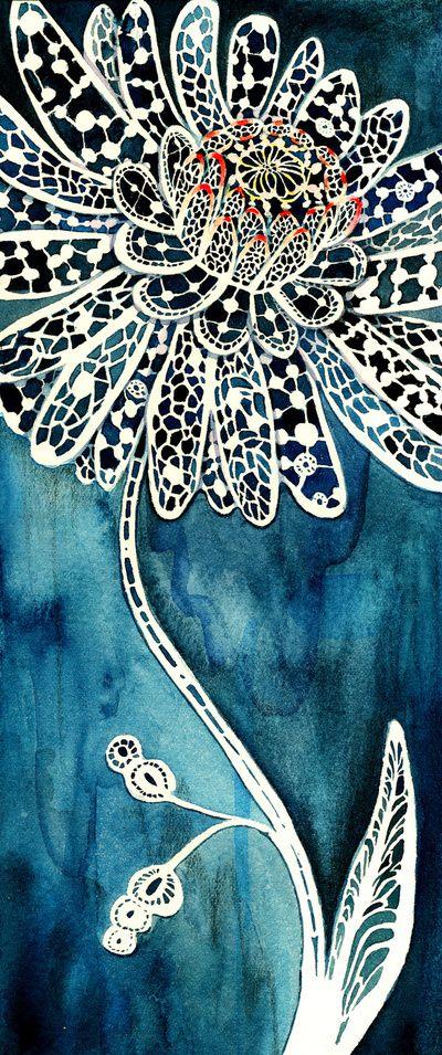 """Pinturas Flor:Você está vendo a minha peça """"Lace Flower"""" de minha coleção Pinturas Flor Esta pintura da aguarela foi feito por pintura nas formas negativas da peça; assim o branco do """"laço branco"""" é na verdade o branco do papel."""