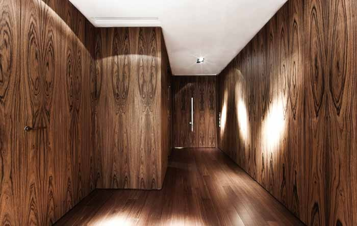 Bookmatched black oak at the Westminster Terrace.