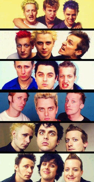 Green Day through the years, tre really needs to tone the hair down