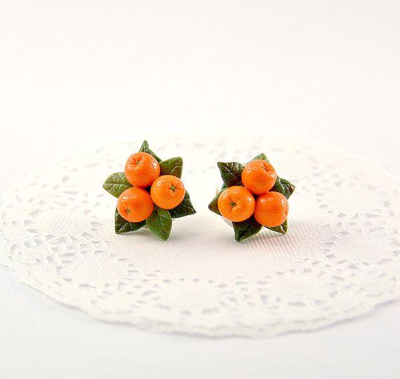 Orecchini Orange o clip - polimero argilla gioielli - gioielli fatti a mano Arancio - Orange agrumi - frutta orecchini - mandarino