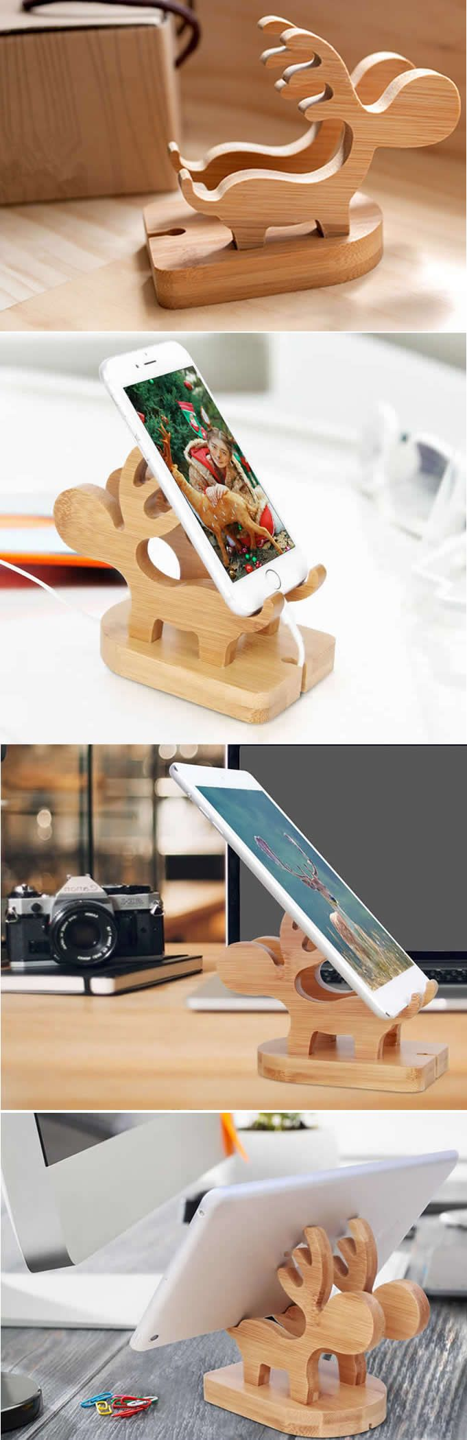 Wooden Muntjacs Cell Phone Stand Charging Dock Holder