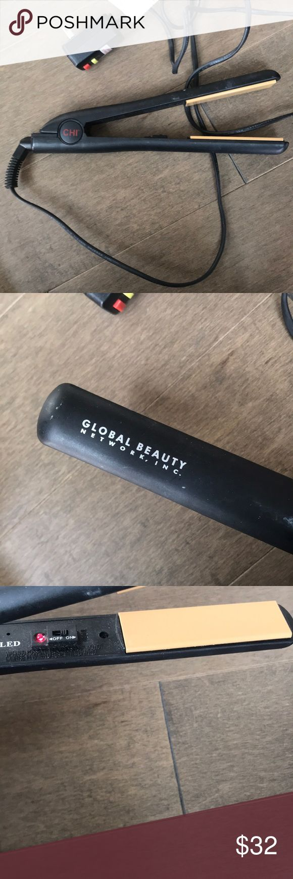 Chi global beauty flatiron hair straightener Chi hair straightener. Heats up super quickly. I've had short hair for a while so I figured it was time to get rid of it. Great condition! Will clean before shipping. CHI Accessories Hair Accessories #hairstraightener