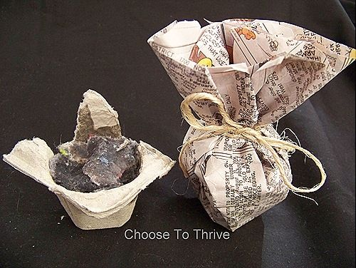 make fire starters out of old egg cartons, dryer lint, used candles and newspaper