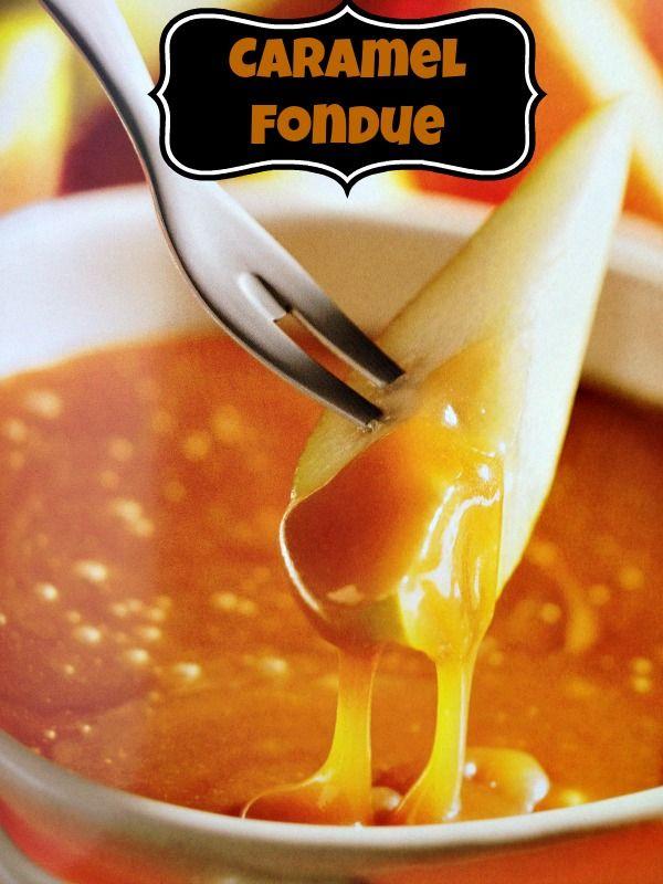 Caramel Fondue #Recipe #food have a side of crushed skor or nuts