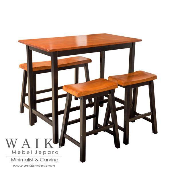 Meja makan minimalis American Bar 1 meja panjang dan 2 stool dan 1 bangku panjang. Produsen bangku meja makan american bar minimalis kualitas ekspor Jepara.