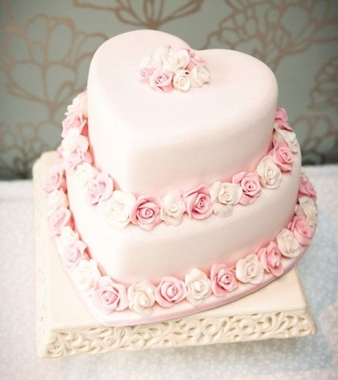 Sweet pink hearts & roses wedding cake - For all your cake decorating supplies, please visit craftcompany.co.uk