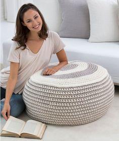[Free Pattern] Beautiful And Stylish Crochet Pouf For People Who Love Where They Live - http://www.dailycrochet.com/stylish-pouf/