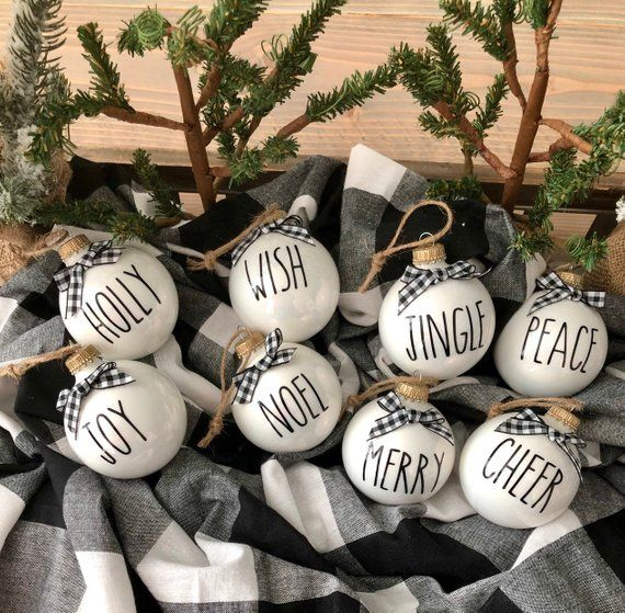 8 Rae Dunn Inspired Ornaments Farmhouse Decor Black And Etsy In 2020 White Christmas Ornaments Christmas Ornaments Christmas Decals